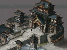 ArtStation - Practice of wind China building , yue chen