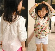 00105 TJ-7J843-TJ062104 Free shipping 6 pcs/lot Wholesale Openwork crochet collar blouse girls Wawa Shan Sleeve Qunshan http://www.aliexpress.com/store/1047972