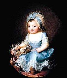 A portrait of Sophie d'Artois, the second of four children born to the Comte and Comtesse d'Artois. It was painted by Madame LeBrun, the official portrait painter of Sophie's aunt, Marie Antoinette. Basilica Of St Denis, Charles Emmanuel, Bourbon, Princess Louise, Maria Teresa, Miniature Portraits, 18th Century Fashion, Elisabeth, Three Daughters