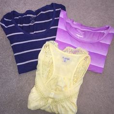 AMERICAN EAGLE BUNDLE Set of 3 tops all size Medium. All are like new; great condition! Blue long sleeve, yellow razor back tank, and lavender short sleeve crop top. American Eagle Outfitters Tops Tees - Short Sleeve