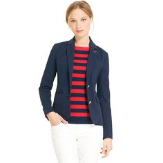 Tommy Hilfiger women's blazer. An editor favorite—the quintessential navy blazer—maritime sublime right down to the anchor-crested buttons. The details make it interesting, like a gingham undercollar and a piped interior. • Slim fit.• Body: 97% cotton, 3% elastane. Lining: 100% synthetic.• Brushed cotton, functional buttons, princess seams, TH embroidery at cuff.• Machine washable.• Imported.