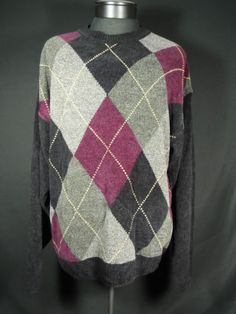 Croft & Barrow Mens Argyle Sweater Large Super Soft Acrylic Blend Multicolor