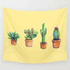 'Cactus on Yellow' Tapestry by franciscomff Big Yellow, Mellow Yellow, Tapestry Bedroom, Wall Tapestry, Tapestry Design, Hanging Tapestry, Room Ideas Bedroom, Bedroom Decor, Bedroom Wall
