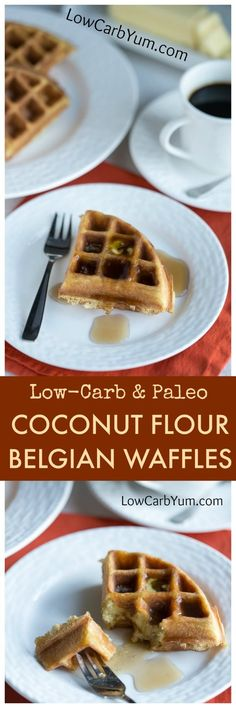Scrumptious low carb paleo coconut flour waffles are easy to make. Just mix up the ingredients in a blender then pour in a Belgian waffle maker.   LowCarbYum.com