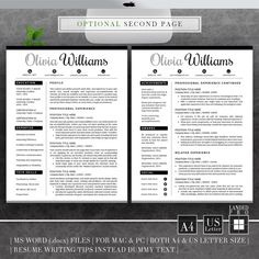 Resume Template & Cover Letter Template Professional by LANDEDpro Creative Cv, Creative Resume Templates, Cv Design, Resume Design, Cover Letter Template, Cv Template, Modern Resume, Letter I, Professional Resume