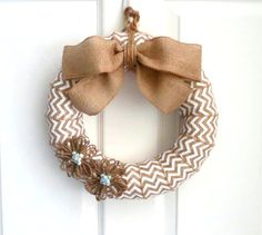 White Chevron Burlap Wreath by WeddingsAndWreaths on Etsy. Also available in several other colors. Stop by our shop to browse all of our modern, unique designs!