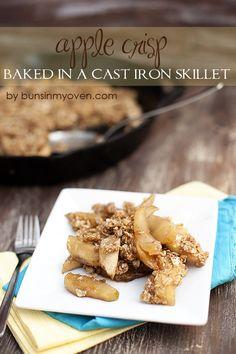 Apple Crisp baked in a cast iron skillet #recipe by bunsinmyoven.com