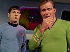 Leonard Nimoy and William Shatner as Spock and Captain Kirk in Star Trek Star Trek 1966, Star Trek Tv, Star Wars, Star Trek Original Series, Star Trek Series, James T Kirk, Star Trek Reboot, Star Trek Episodes, Star Trek Images