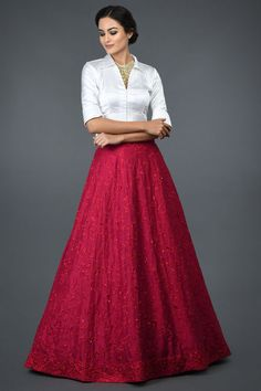 Red Floral Resham Sequin & Beads Hand Embroidered Skirt With Blouse Long Skirt With Shirt, Long Skirt And Top, Indian Skirt And Top, Indian Gowns Dresses, Indian Fashion Dresses, Skirt Fashion, Women's Fashion, Red Skirt Outfits, Red Skirts