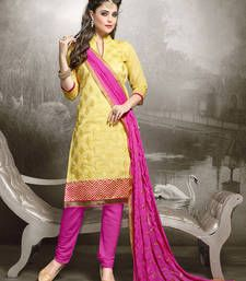 Buy Yellow embroidered chanderi cotton unstitched salwar with dupatta dress-material online