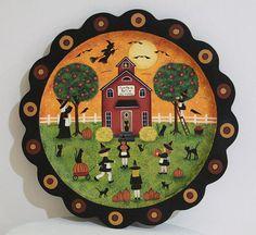 Halloween Folk Art Pumpkin Patch School by RavensBendFolkArt