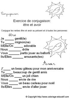 avoir et être French Verbs, French Grammar, French Teacher, Teaching French, High School French, French Course, French Worksheets, French For Beginners, French Education
