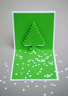 DIY: christmas pixel popup cards
