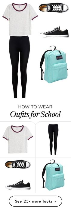 """School"" by nk-4444 on Polyvore featuring H&M, Miss Selfridge, Converse and JanSport:"
