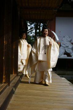 Setsubun matsuri.  Deep seasons.  Men dressed in kariginu.,