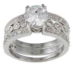 Kate Bissett Silvertone Round-cut Cubic Zirconia Engagement Ring