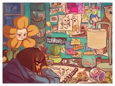 Frisk flowey room <<<Is that a Steven Universe poster in their room on the top?