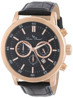 Lucien Piccard Men's 12011-RG-01 Monte Viso Chronograph Rose Gold-Tone Stainless Steel Watch ** Learn more by visiting the image link.
