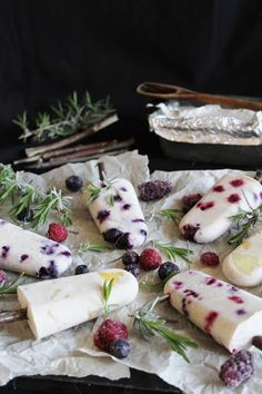 fruit popsicles with coconut milk, wonderful summer dinner party dessert.  #designsponge #dssummerparty
