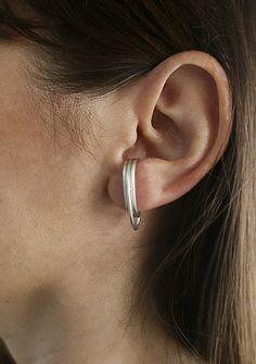 Suspender Earrings J Curved Sterling Silver 925 Huggie Minimal Stud Modern Post Hoop Dainty Unusual Unique #earrings #etsy #handmade #jewelry