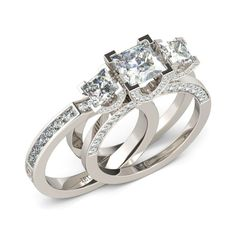 Three-stone Two-in-one 1.5CT Princess Cut Created White Sapphire Rhodium Plated 925 Sterling Silver Women's Ring