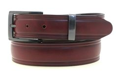 "1 1/4"" Burgundy Latigo Leather Men's Domed Dress Belt Square Buckle And Loop Set With Satin Black Finish Made In USA"