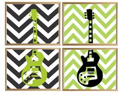 Modern Guitar Art Print  Gibson - Music Room Decor - Guitar Artwork
