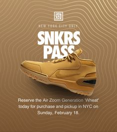 Via Nike⁠ SNKRS: https://www.nike.com/us/launch/t/air-zoom-generation-wheat-pass-nyc?sitesrc=snkrsIosShare