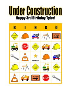 Under Construction Truck Personalized Birthday Party Game Bingo Cards Delivered by Email