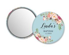 FREE SHIPPING!! Custom mirror. Great baptism favors for guests. They are a unique and practical idea for your reception. Beautiful floral themed favors will be a useful favor for any guest. Size 2,3 (59mm). ---------------------------------- HOW TO ORDER ---------------------------------- Step 1
