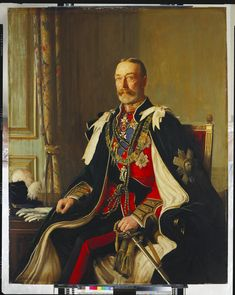 King George V (1865-1936), by Frederick W Elwell, Signed and dated 1932. He is wearing the uniform of the Colonel-in-Chief of the Scots Guards, the mantle, star, collar and riband of the Order of the Thistle.