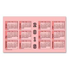 2016 Pink Calendar by Janz Business Card
