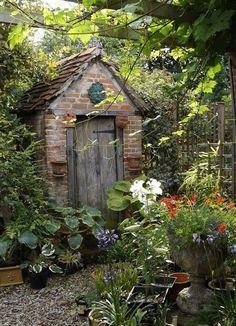 English cottage gardening shed