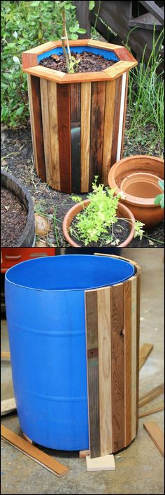 DIY Plastic Barrel Planter Use plastic barrels and cover in wood for an expensive planter look. Big size, little price!