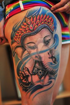 Cute indian ganesha tattoo on thigh. Find and save ideas about Cute indian ganesha tattoo on thigh on Tattoos Book. More than FREE TATTOOS Pagan Tattoo, Ganesh Tattoo, Leopard Tattoos, Black Ink Tattoos, Belly Tattoos, Sleeve Tattoos, Tatoos, Nepali Tattoo, Graveyard Tattoo