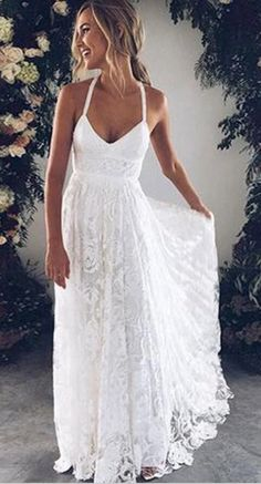 Classy Prom Dresses, White v neck lace long prom dress, white evening dress wedding dress charming bridal dresses Prom Dresses Long Lace Beach Wedding Dress, Backless Wedding, Long Wedding Dresses, Bridal Dresses, Ivory Wedding, Rustic Wedding, Hawaiian Wedding Dresses, Beach Wedding Attire, White Long Dresses