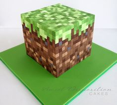 Minecraft Cake- you have got to be kidding me! How much work did THIS take and how fast was it demolished? LOL