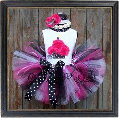 PINK in PARIS - Birthday Tutu Skirt Set, Hairclip/Headband & 3D Cupcake Shirt - Newborn, 1st, 2nd, 3rd, 4th, 5th Birthday on Etsy, $39.95