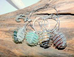 Set of Four Sea Glass Wine Charms by beachglassshop