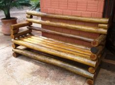Diy Garden Furniture, Bamboo Furniture, Log Furniture, Furniture Projects, Woodworking Furniture Plans, Diy Woodworking, Diy Para A Casa, Log Chairs, Bamboo Sofa