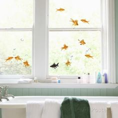 @elliesmiv the babies would love these! maybe a restroom window?  Fish Window Decal Sticker Window Decal at AllPosters.com