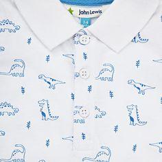Buy John Lewis Baby Dinosaur Print Bodysuit, White, Newborn Online at johnlewis.com