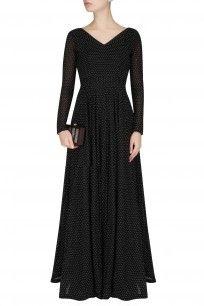 Black Micro Dot Cut Out Dress