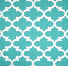 Quatrefoil Lattice Aqua Blue Trellis Tiffany Blue Fabric By The Yard Home Decor Upholstery Aqua Blue Fabric