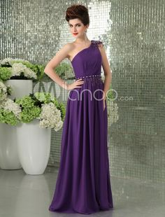 Chic Grape Chiffon Beading One-Shoulder Fashion Evening Dress. Chic Grape Chiffon Beading One-Shoulder Fashion Evening Dress. See More One Shoulder at http://www.ourgreatshop.com/One-Shoulder-C968.aspx