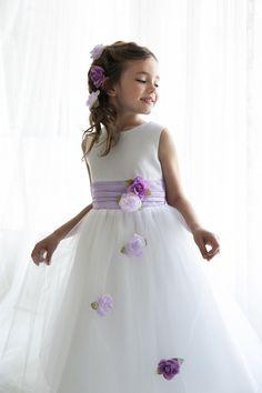 White/Lilac Classy Satin with Tulle Skirt Flower Girl Dress KC-D1236-LC on www.GirlsDressLine.Com