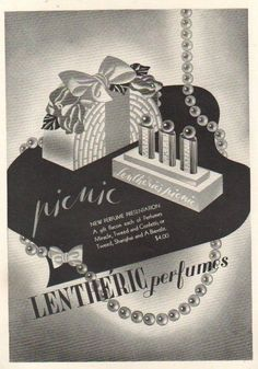 1941 Lentheric Picnic Set Tweed Miracle Confetti perfume~fragrance bottle ad