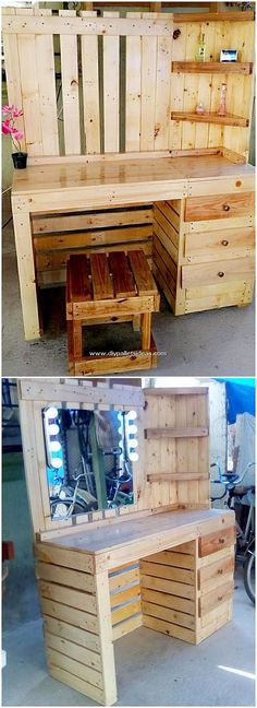 Put collectively in the dressing table with stool, right here the classy house advent of the wood pa. Pallet Furniture Headboard, Pallet Furniture Tv Stand, Pallet Furniture Designs, Rustic Furniture, Diy Furniture, Wood Pallet Crafts, Diy Pallet Projects, Wood Pallets, Pallet Ideas For Bedroom
