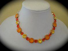 Neon Orange Tennis  Necklace Statement Necklace by TheCrystalRose, $125.00