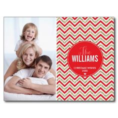 PHOTO HOLIDAY CARD chevron glitter pale gold red Post Cards